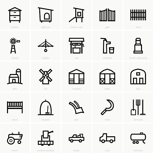 Farm icons This image is a vector illustration and can be scaled to any size without loss of resolution, can be variated and used for different compositions. This image is an .eps file and you will need a vector editor to use this file, such as Adobe Illustrator. gate stock illustrations
