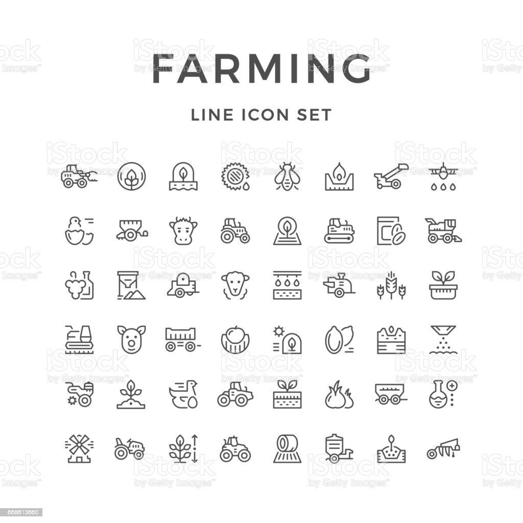 Boerderij pictogrammen - Royalty-free Aanhangwagen vectorkunst