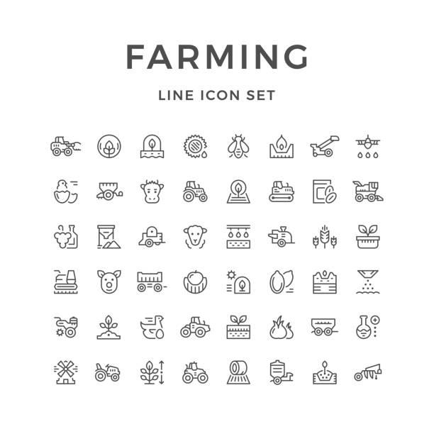 illustrations, cliparts, dessins animés et icônes de icônes de ferme - agriculture