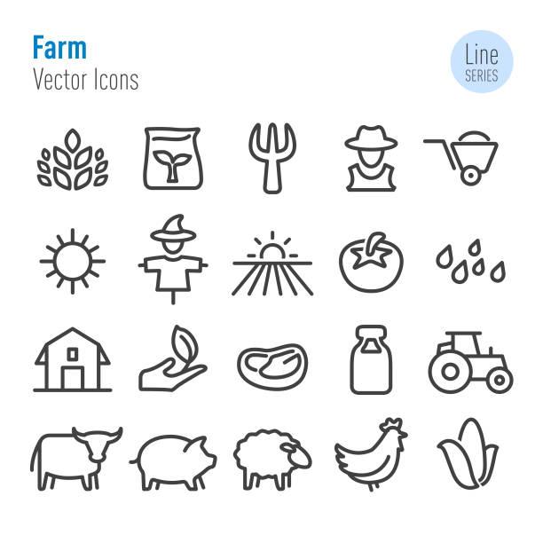 Farm Icons - Vector Line Series Farm, Agriculture, female animal stock illustrations