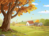 Vector illustration of a beautiful rural landscape with a big colorful tree and autumn leaves in the foreground, and a farm, agricultural fields, a fence, a road, hills, bushes, trees and green meadows in the background. Art on layers and easily edited and scaled.