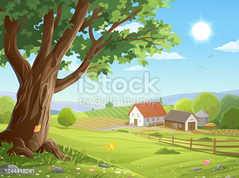 istock Farm In Idyllic Landscape 1244415241