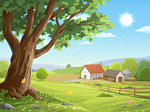 Vector illustration of a beautiful rural landscape with a big old tree in the foreground, and a farm, agricultural fields, a fence, a road, hills, bushes, trees and green meadows in the background.