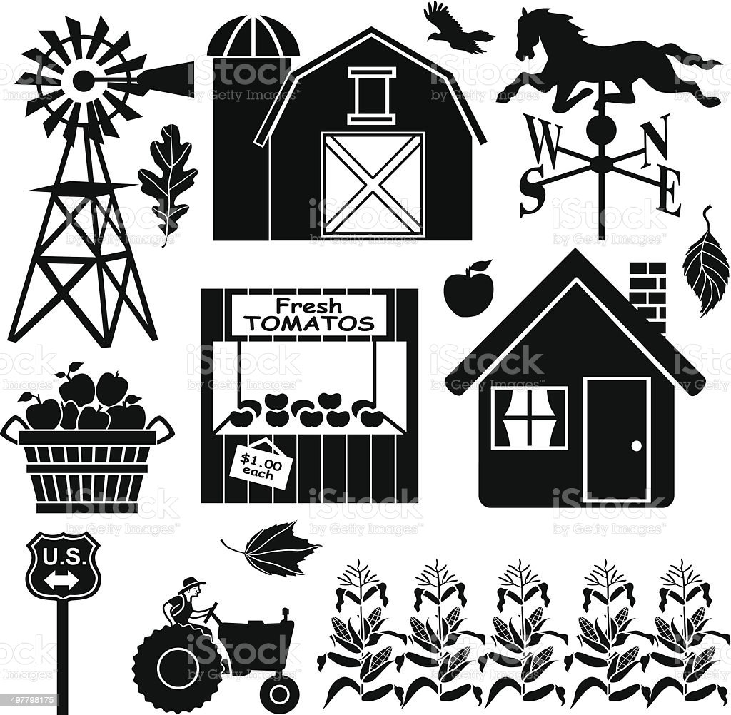 farm in the country design elements vector art illustration