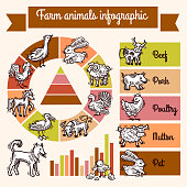 Farm infographics set with sketch animals and charts vector illustration