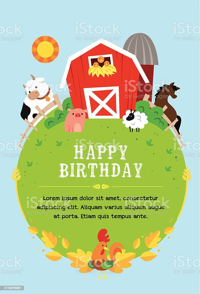Farm invitation to child vector art illustration