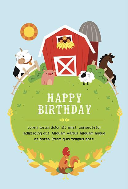 ilustrações, clipart, desenhos animados e ícones de farm convite para crianças - animais da fazenda