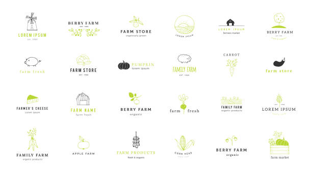 Farm label templates set. Vector hand drawn minimal objects. Big set of vector hand drawn minimal label templates. Farm and organic food theme. Isolated symbols for farmers markets, fairs, berry farms and grocery stores, for business branding and identity. agricultural fair stock illustrations