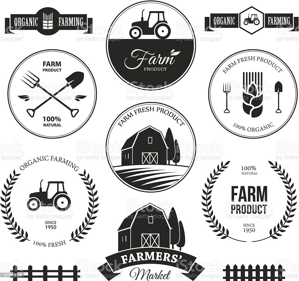 Farm labels 2 vector art illustration