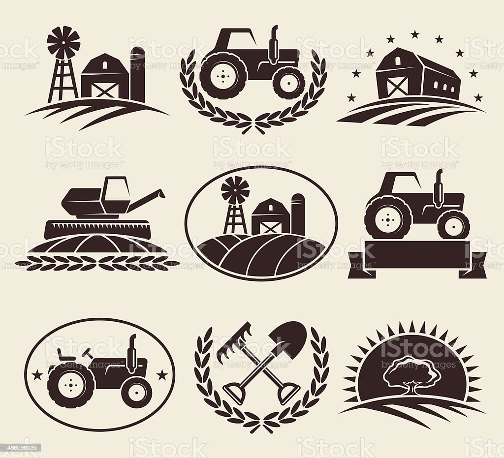 Farm labels set. Vector vector art illustration