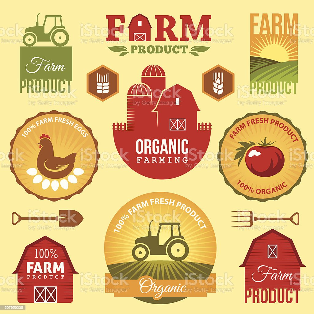 Farm labels vector art illustration