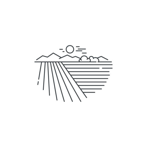 Farm landscape, field line icon. Outline illustration of wheat field vector linear design isolated on white background. Farm icon template, element for agriculture business, line icon object. Farm landscape, field line icon. Outline illustration of wheat field vector linear design isolated on white background. Farm icon template, element for agriculture business, line icon object agricultural field stock illustrations