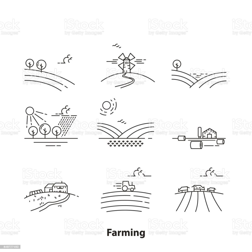 Farm landscape icons, thin line style - Illustration vector art illustration