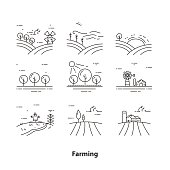 Farming and Agriculture Icons. Farm, Garden, Wood, Wind Turbine, Windmill, Village Sign. Isolated vector