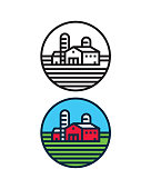 Farm landscape circle icon. Files included: Vector EPS 10, HD JPEG 4000 x 5000 px