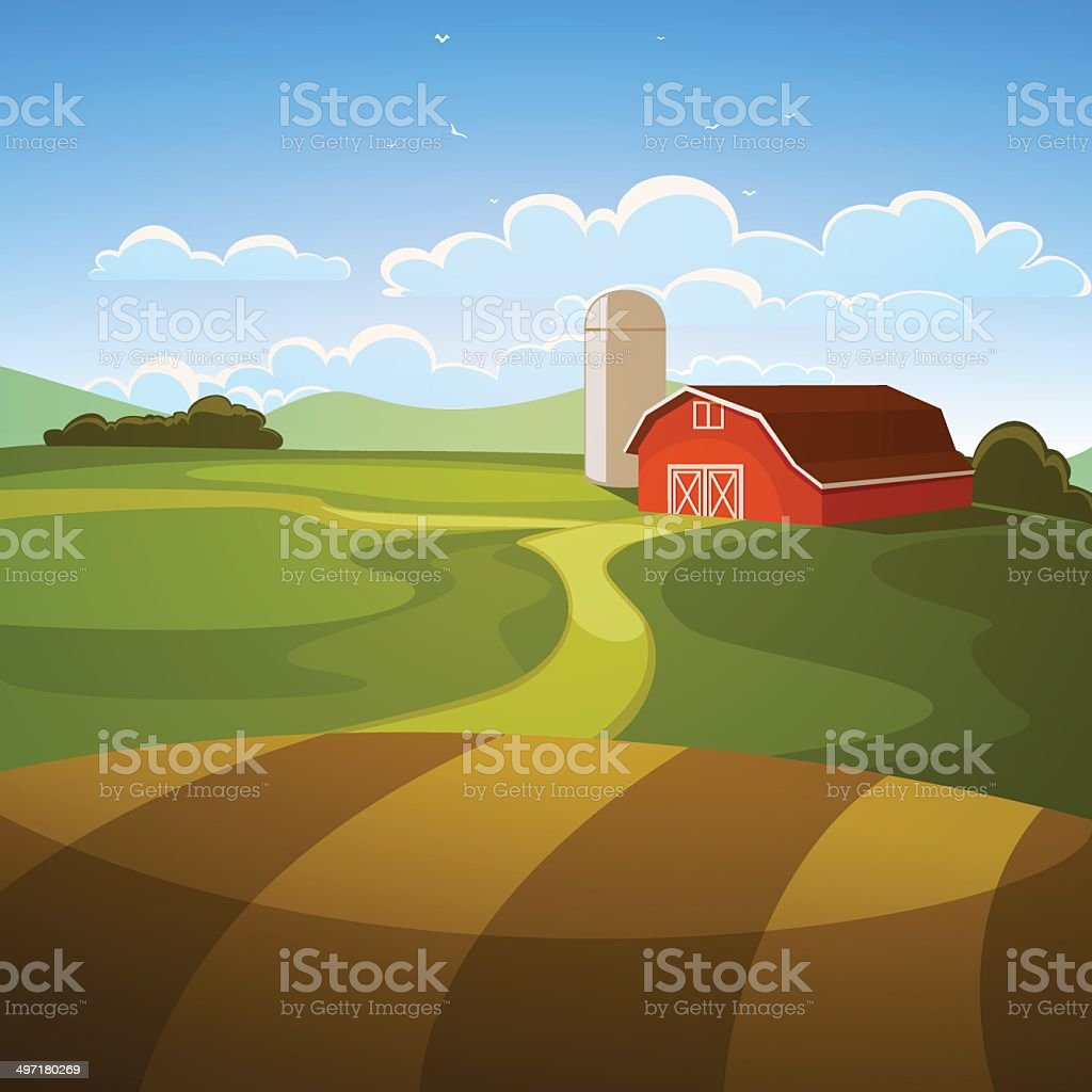 Farm Landscape vector art illustration