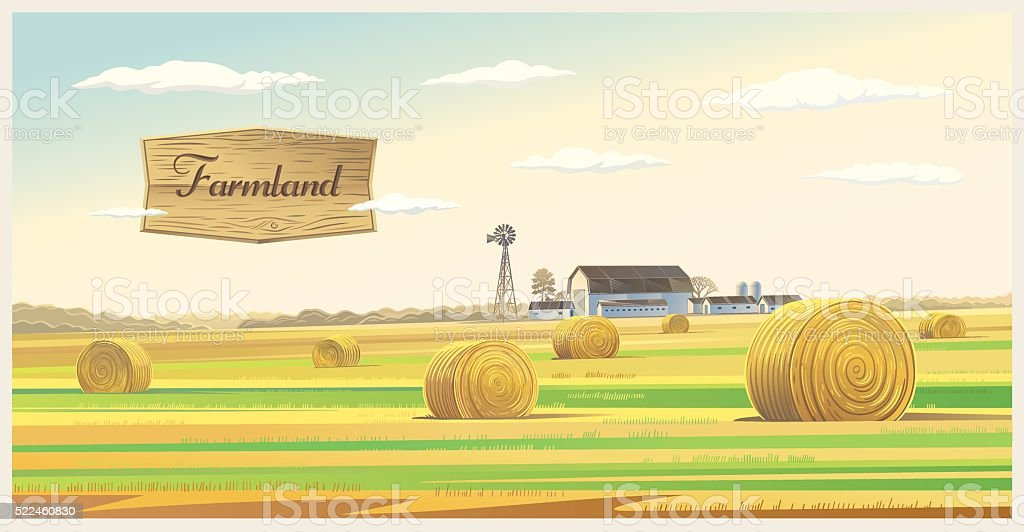 Farm landscape. vector art illustration