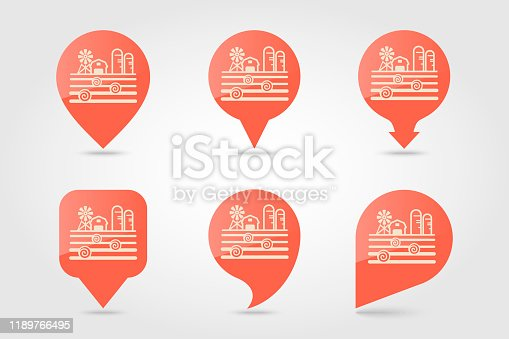 Farm landscape with barn, windpump, haystack and granary flat vector pin map icon. Map pointer. Map markers. Agriculture sign.