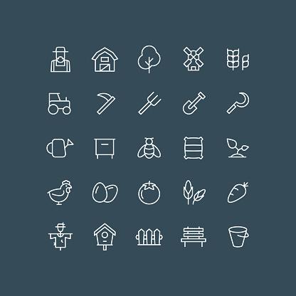 Farm Line Icons Editable Stroke