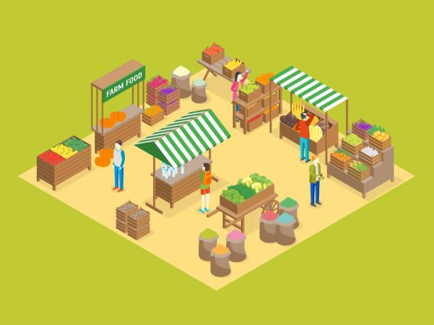 stockillustraties, clipart, cartoons en iconen met boerderij van de lokale markt concept 3d isometrische weergave. vector - marktkraam