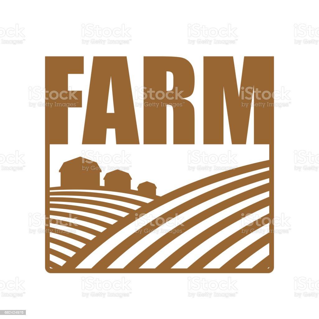 Farm logo. Agriculture sign. Arable land and farm lands vector art illustration