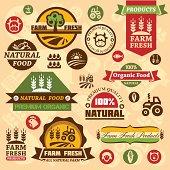 Farm fresh labels. Organic Farming isolated vector sign set.