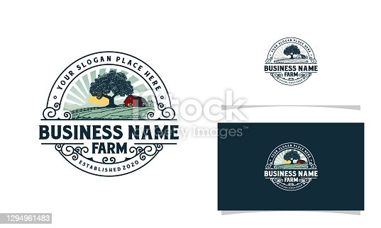 istock Farm logo with mountains sun rise and tree illustration logo template 1294961483