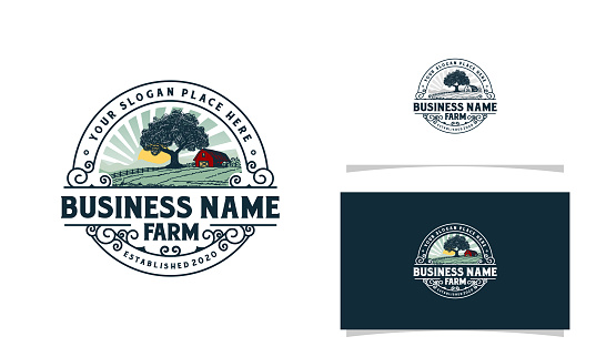 Farm logo with mountains sun rise and tree illustration logo template