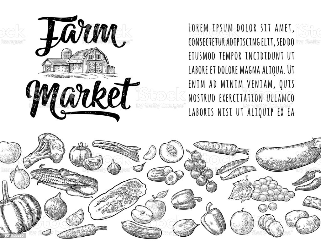 Farm market calligraphic lettering with hangar. Vector engraving vintage vector art illustration
