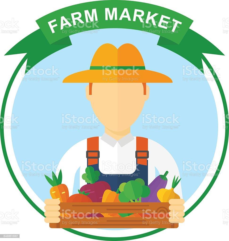 Farm Market Color Logo Stock Vector Art & More Images of