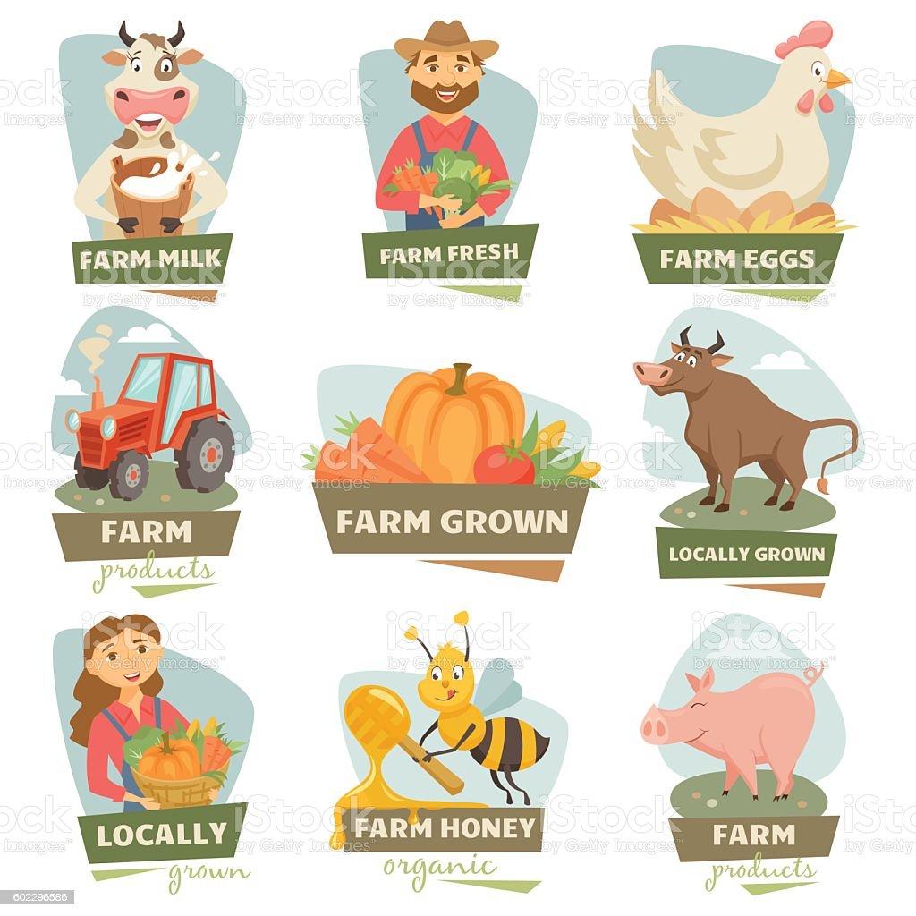 Farm market labels - ilustração de arte em vetor