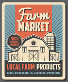 Farm market agriculture food and local farming products trade vintage poster. Vector farmland barley barn house, natural organic farmer wheat and rye premium agrarian food market