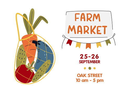 Farm Market poster, banner. Eco String bag with vegetables in modern style.