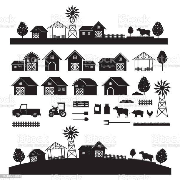 Farm objects and landscape silhouette set vector id1043680830?b=1&k=6&m=1043680830&s=612x612&h=qfnxckrtdxa2x8tsn1l1wh7bqzpylq2ntrgwxtmdjfo=