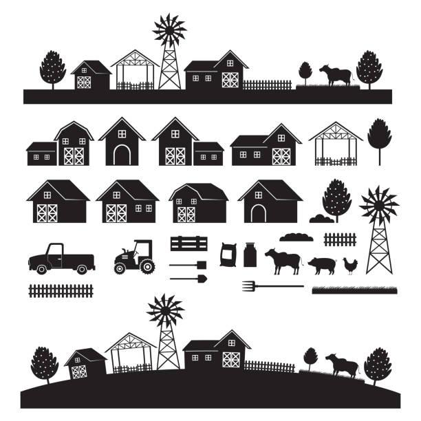 stockillustraties, clipart, cartoons en iconen met objecten van de boerderij en landschap, silhouet set - chicken bird in box
