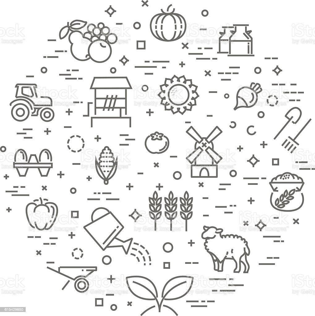Farm product illustration, organic food concept vector template, flat design vector art illustration