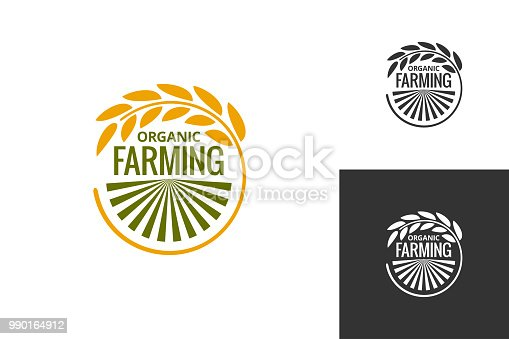 farm product logo. Fresh farming food produce icon set background 8 eps