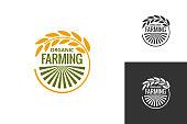 farm product logo. Fresh farming food produce icon set background