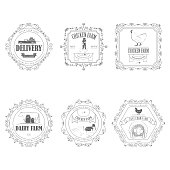 Farm Products Badges With Ornament.