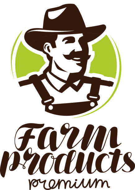 farm products or label. farmer icon, vector illustration - old man hat stock illustrations, clip art, cartoons, & icons