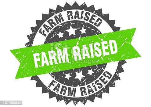 istock farm raised stamp. grunge round sign with ribbon 1307560653