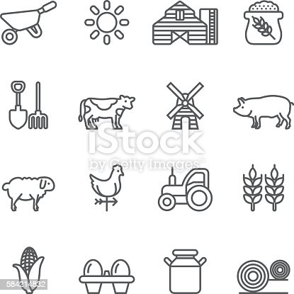 Farm Rice Agriculture Livestock Line icons