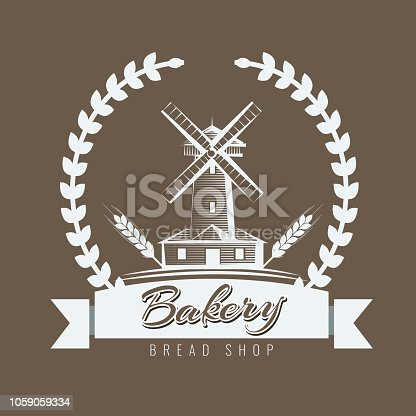 Farm, rural landscape logo or label. Agriculture, agribusiness, village, mill icon. Sketch style Vintage vector illustration