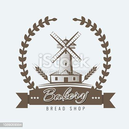 Farm, rural landscape logo or label. Agriculture, agribusiness, village, mill icon. Sketch style Vintage vector illustration