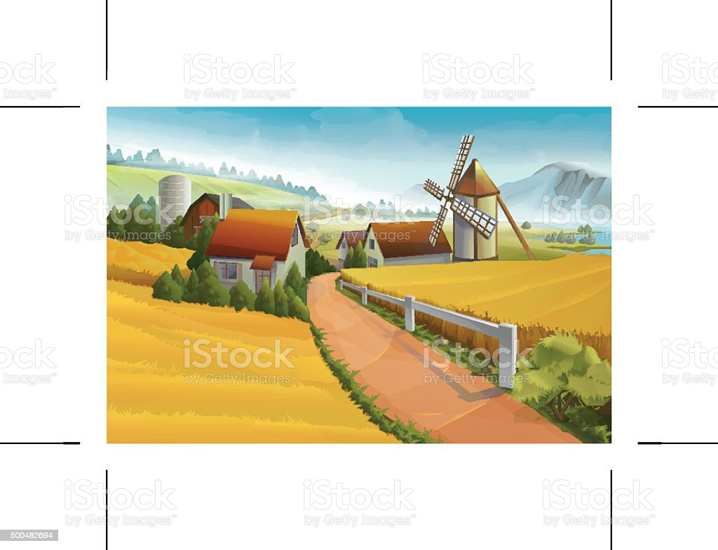 Farm rural landscape vector art illustration