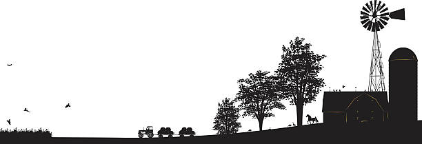 Farm Scene Black silhouette with Buildings,Windmill, Trees and Tractor vector art illustration