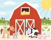 A vector illustration of a farm scene with a barn and various farm animals (cow, horse, cat, chicken, chick, pig, sheep, goat). Objects are grouped and layered for easy editing. Files included: AICS5, EPS8 and Large High Res JPG.