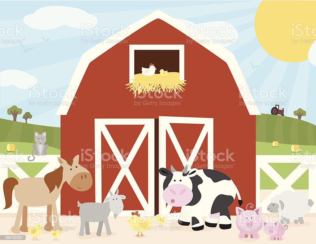 Farm Scene vector art illustration