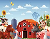 Farm Scene. High Resolution JPG,CS5 AI and Illustrator EPS 8 included. Each element is named,grouped and layered separately.