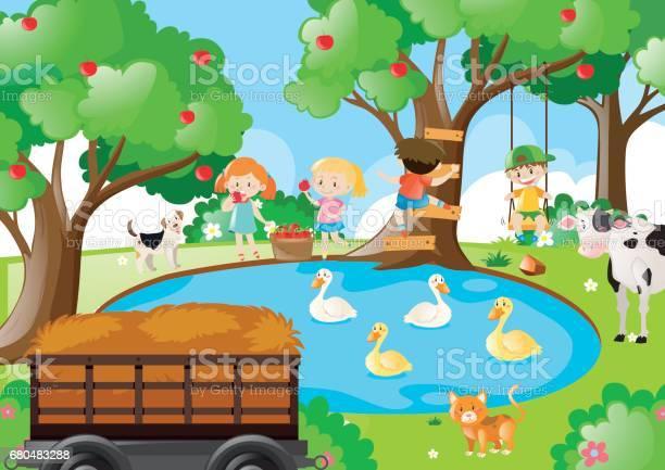 Farm scene with children picking apples vector id680483288?b=1&k=6&m=680483288&s=612x612&h=fco55jxlwnwp4xm9huqwltgp1gsyqi5nlevvrbj5xi4=